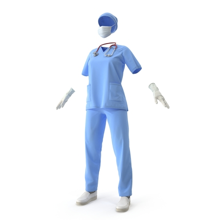 Medical workers clothes isolated on white. 3D illustration