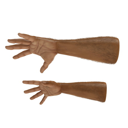 man hands on white. Front view. 3D illustration Stock Photo