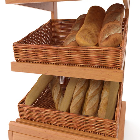 Rattan Trade equipment for the sale of bread. On white. 3D illustration