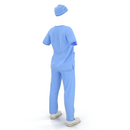 Surgical clothes for woman on white. No people. 3D illustration Stock Photo