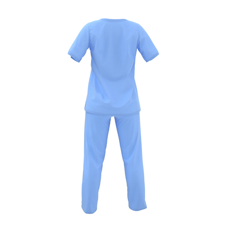 Blue operation dress for woman isolated on white. 3D illustration
