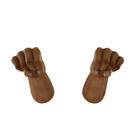 Man hand Swarthy Skin clenched into fist on white. 3D illustration