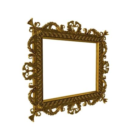 Antique golden frame isolated on white. 3D illustration