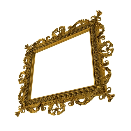 Baroque Picture Frame on white. 3D illustration