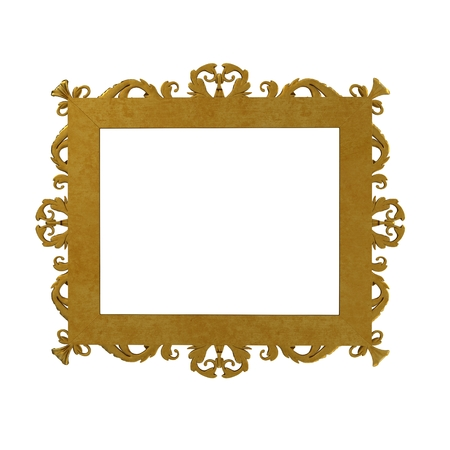 Gold vintage frame isolated on white. Rear view. 3D illustration