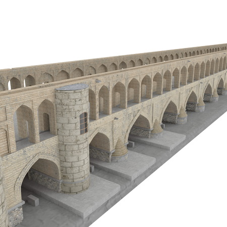 Si-o-seh Pol Bridge of 33 Arches on a white. 3D illustration