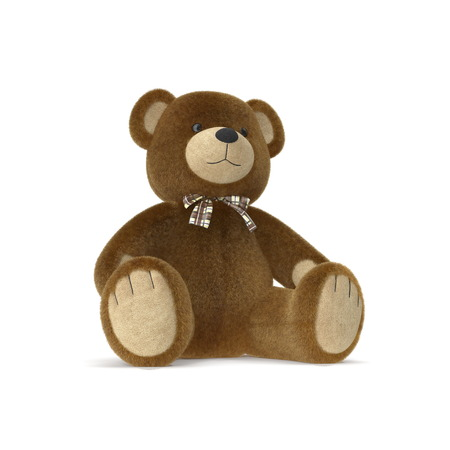 Toy Teddy Bear on a white. 3D illustration Stock Photo