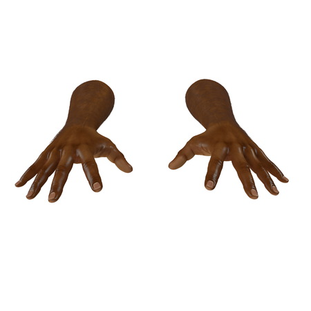 african man hand on a white. 3D illustration Stock Photo