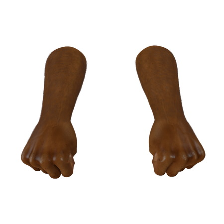 african man hand clenched into fist on a white. 3D illustration