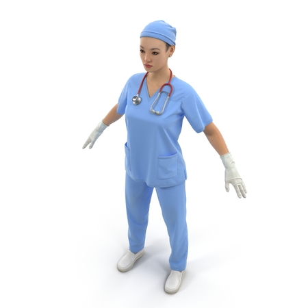 Nurse or young doctor standing in full body isolated on white. 3D illustration