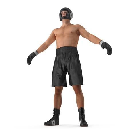 Male boxer on white. 3D illustration Stock Photo