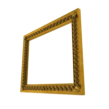 Baroque Picture Frame on white background. 3D illustration Stock Photo