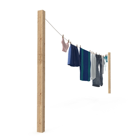 Clothes hanging on the clothesline on white. 3D illustration Stock Photo