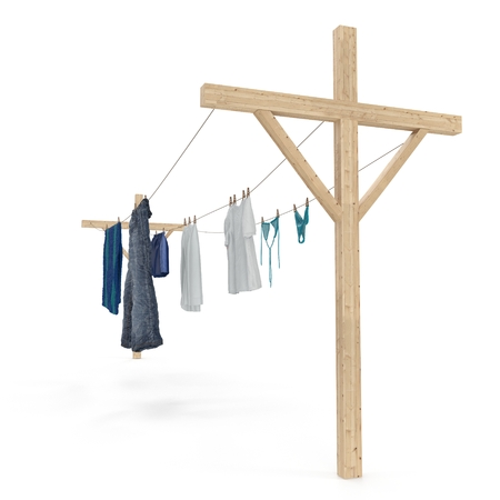 Underwear drying on a rope isolated on white. 3D illustration
