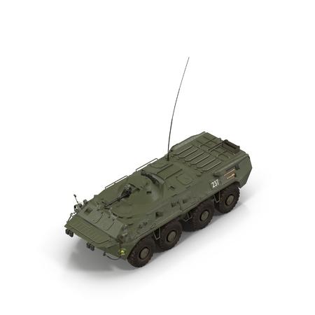 BTR-80 amphibious armoured personnel carrier on white. 3D illustration