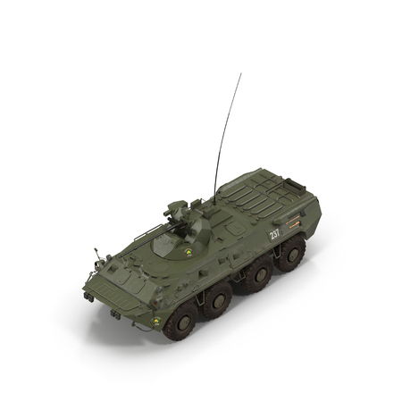 BTR-80 wheeled armoured vehicle personnel carrier on white. 3D illustration