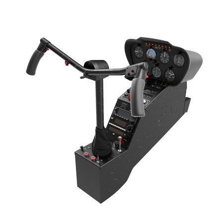 헬리콥터 컨트롤 패널 화이트입니다. 3D 일러스트 레이션