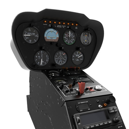 Helicopter instrument and control panel on white. 3D illustration