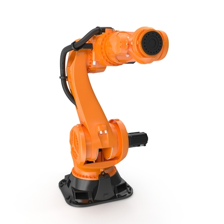 Robot arm for industry isolated on white. Front view. 3D Illustration