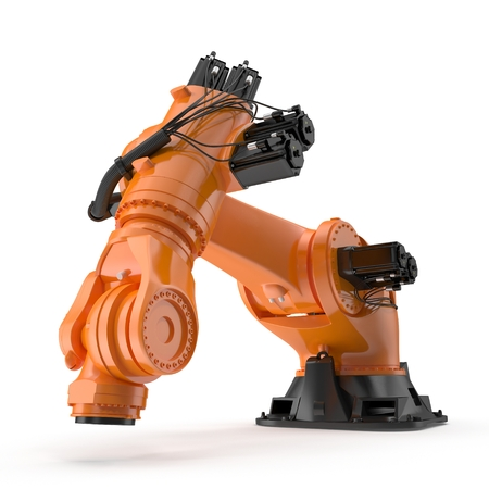 Orange robot arm for industry isolated on white. Side view. 3D Illustration