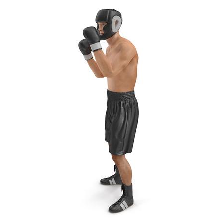 Full body young boxer man over white. 3D illustration