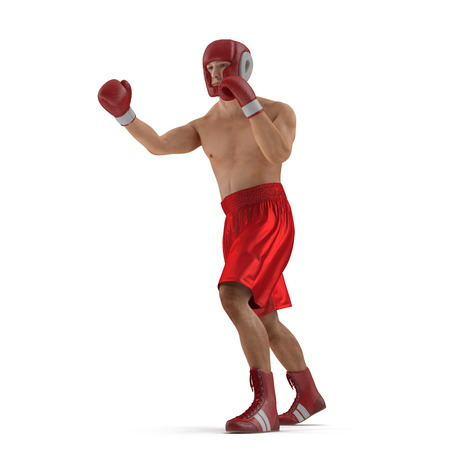 Athletic attractive man wearing boxing gloves on the white. 3D illustration