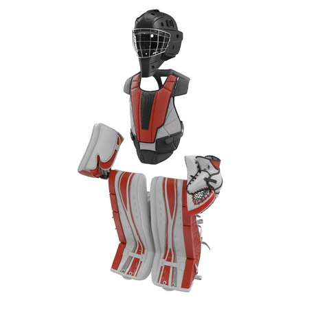 Hockey Goalie Protection Kit on white. 3D illustration