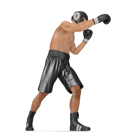 Athletic attractive man wearing black boxing gloves on the white. 3D illustration
