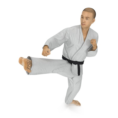 White Karate Fighter fighting pose Isolated on white. 3D illustration