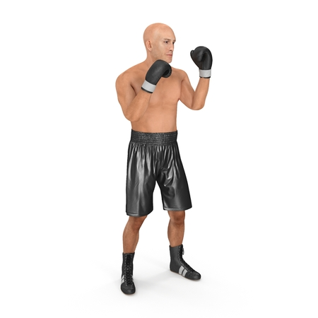 Male boxer fighting pose on white. 3D illustration
