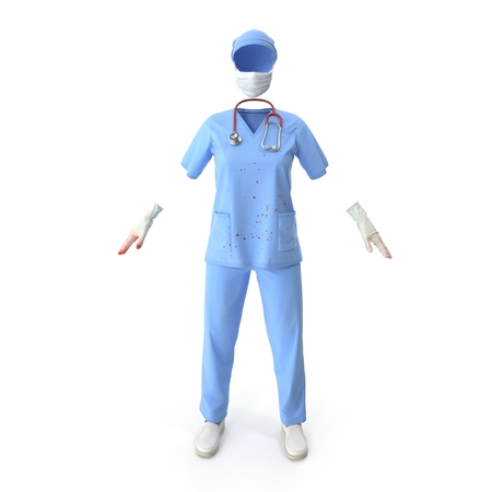 Blue doctor uniform blood-stained isolated on white. 3D illustration