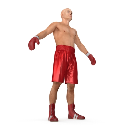 Male boxer on white. 3D illustration Stock Photo