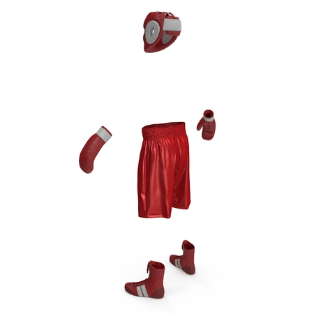 Boxer Red Suit on white. 3D illustration
