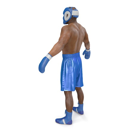 African American Male boxer on white. 3D illustration Stock Photo