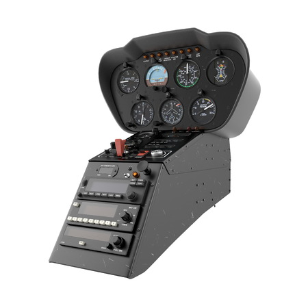 Helicopter Control Panel on white. 3D illustration