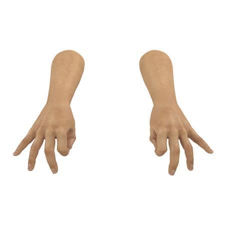 Man Hands ok sign on white. 3D illustration