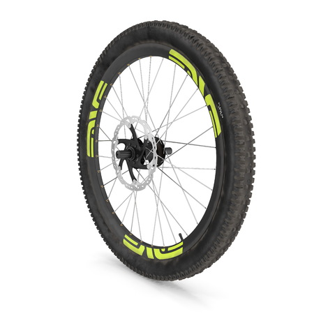 Front wheel of a mountain bike isolated on white. 3D illustration Stock Photo