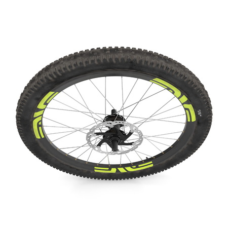 bike front wheel against white. 3D illustration