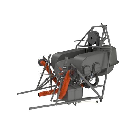 Light Helicopter Engine on white. 3D illustration