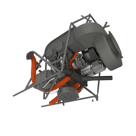 Light Helicopter Engine on white. 3D illustration