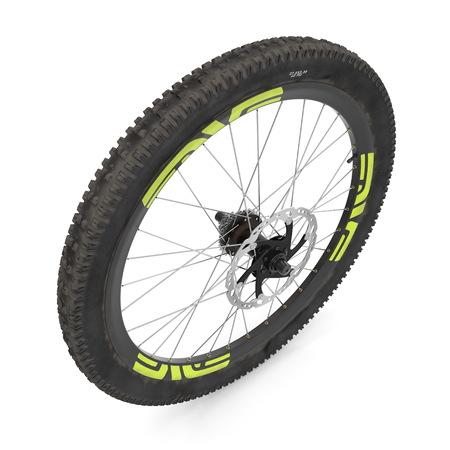 bike rear wheel against white. 3D illustration Stock Photo