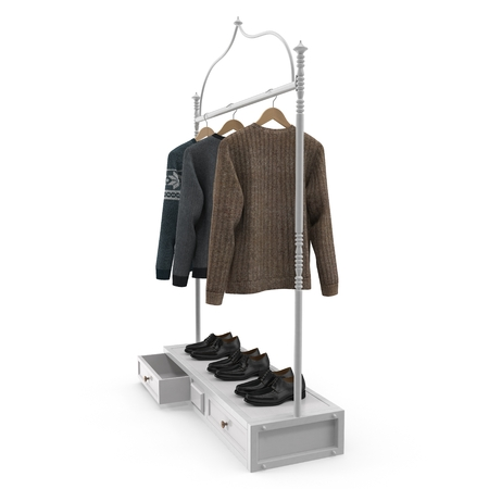 Empty Iron Clothing Display Rack with Clothes on white. 3D illustration Stock Photo