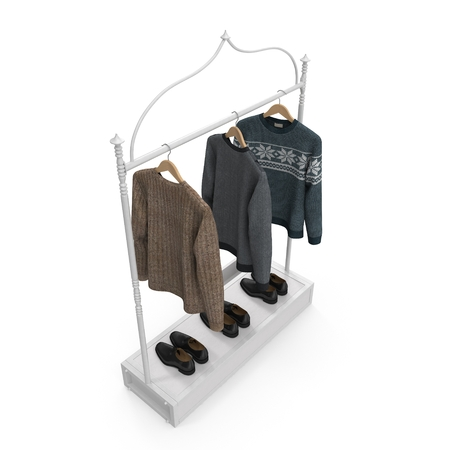 Empty Iron Clothing Display Rack with Clothes on white background. 3D illustration Stock Photo