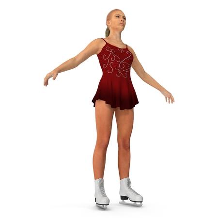 Girl on skates isolated on a white. 3D illustration