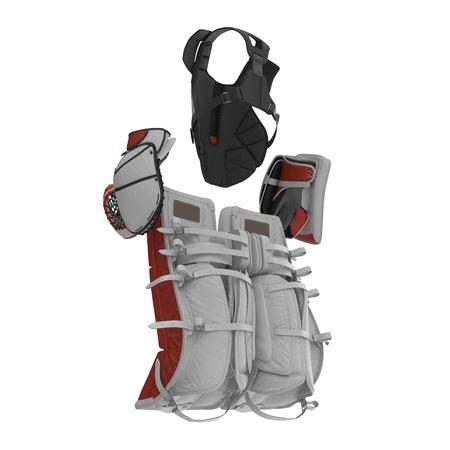 Hockey Goalie Protection Kit on white background. 3D illustration Stock Photo