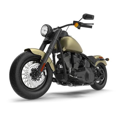 Classic Motorbike isolated on white. 3D illustration Stok Fotoğraf