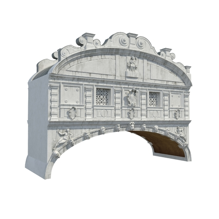 Bridge of Sighs in Venice on white. 3D illustration