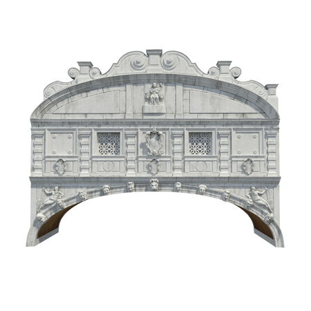 Bridge of Sighs in Venice on white. Front view. 3D illustration