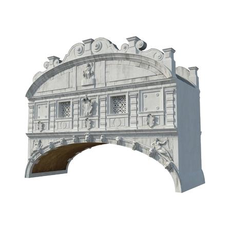 Bridge of Sighs in Venice on white. 3D illustration