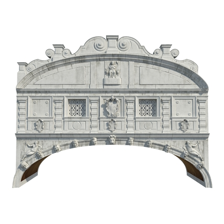 Bridge of Sighs Ponte dei Sospiri between Doges Palace and Prison on white. Front view. 3D illustration Stock Photo